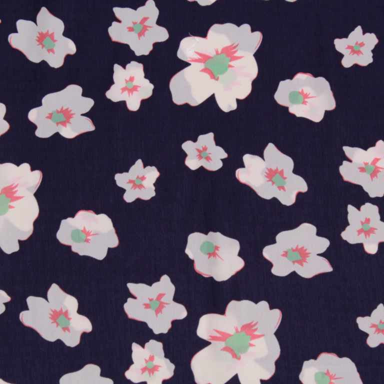 White Floral Printed 100% Polyester Peachskin, 60GSM, 150cm Wide