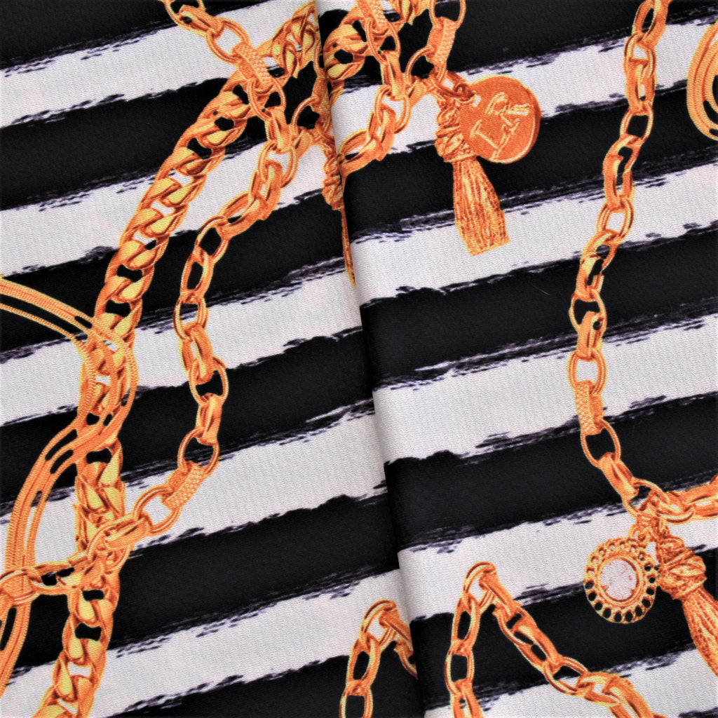 "Stripes & Chains, 60"" Polyester Fabric"