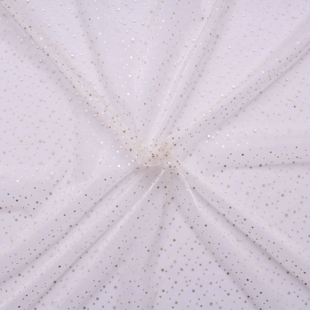 "Spot Organza Fabric Cream 100% Nylon , 60"" Wide"