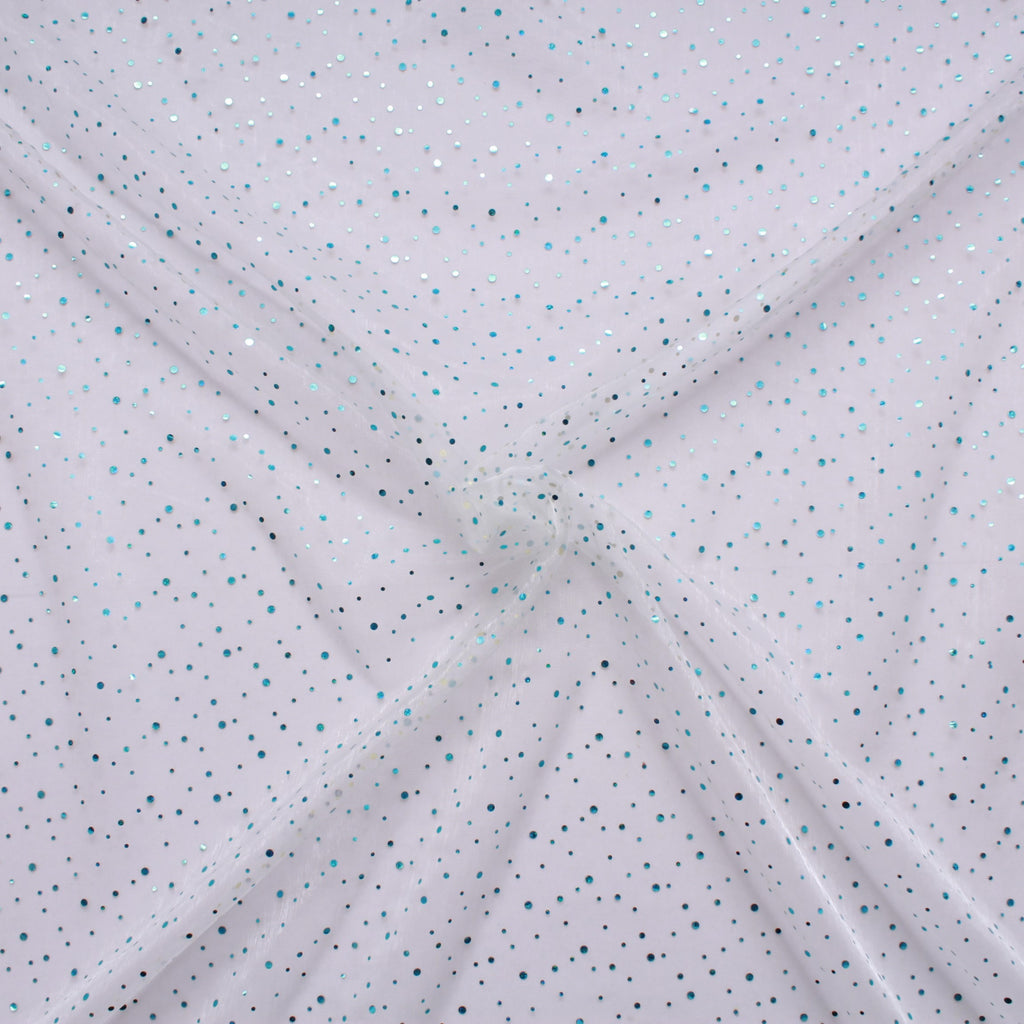 "Spot Organza Fabric Light Blue (Pale Blue) 100% Nylon , 60"" Wide"
