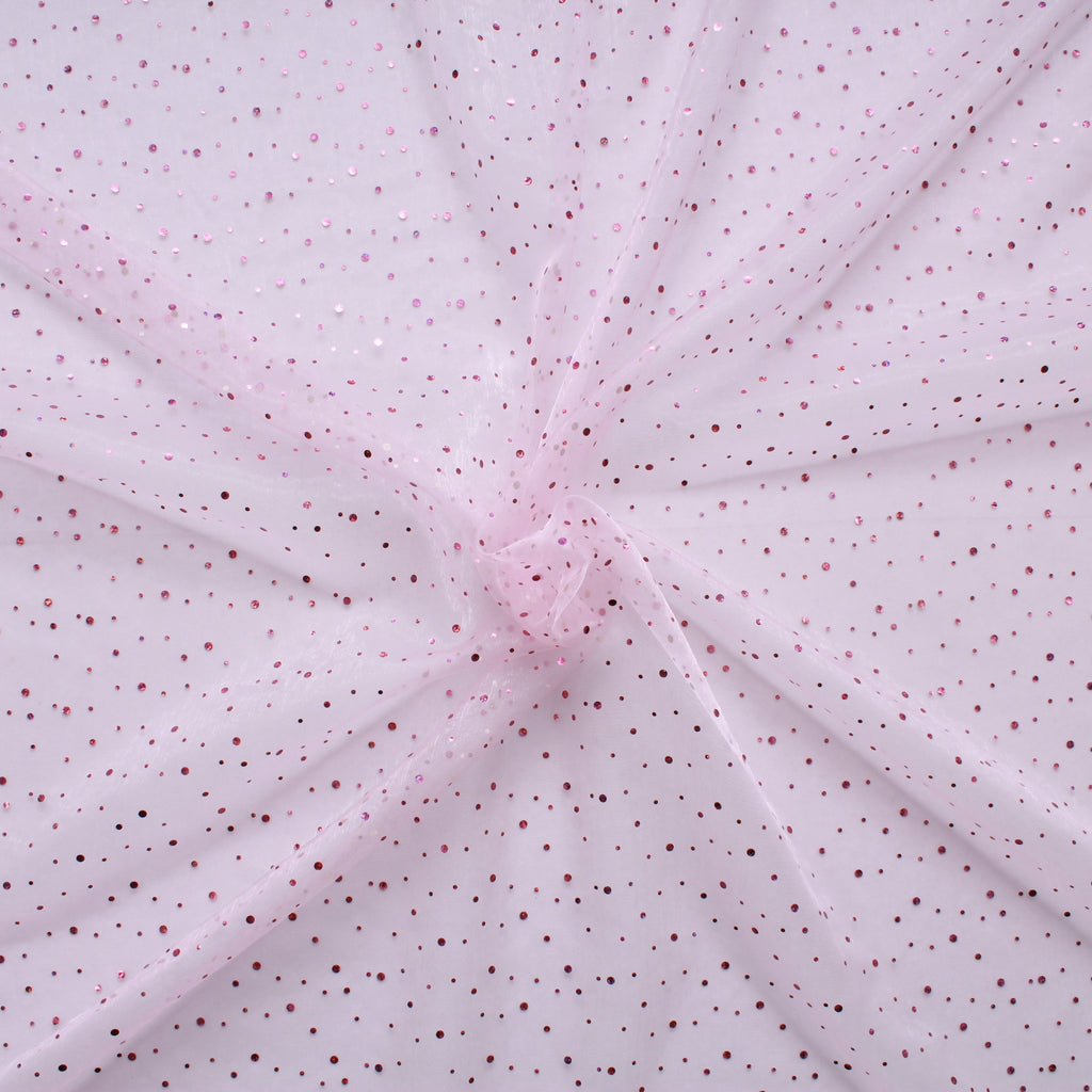 "Spot Organza Fabric (Pale) Pink 100% Nylon , 60"" Wide"