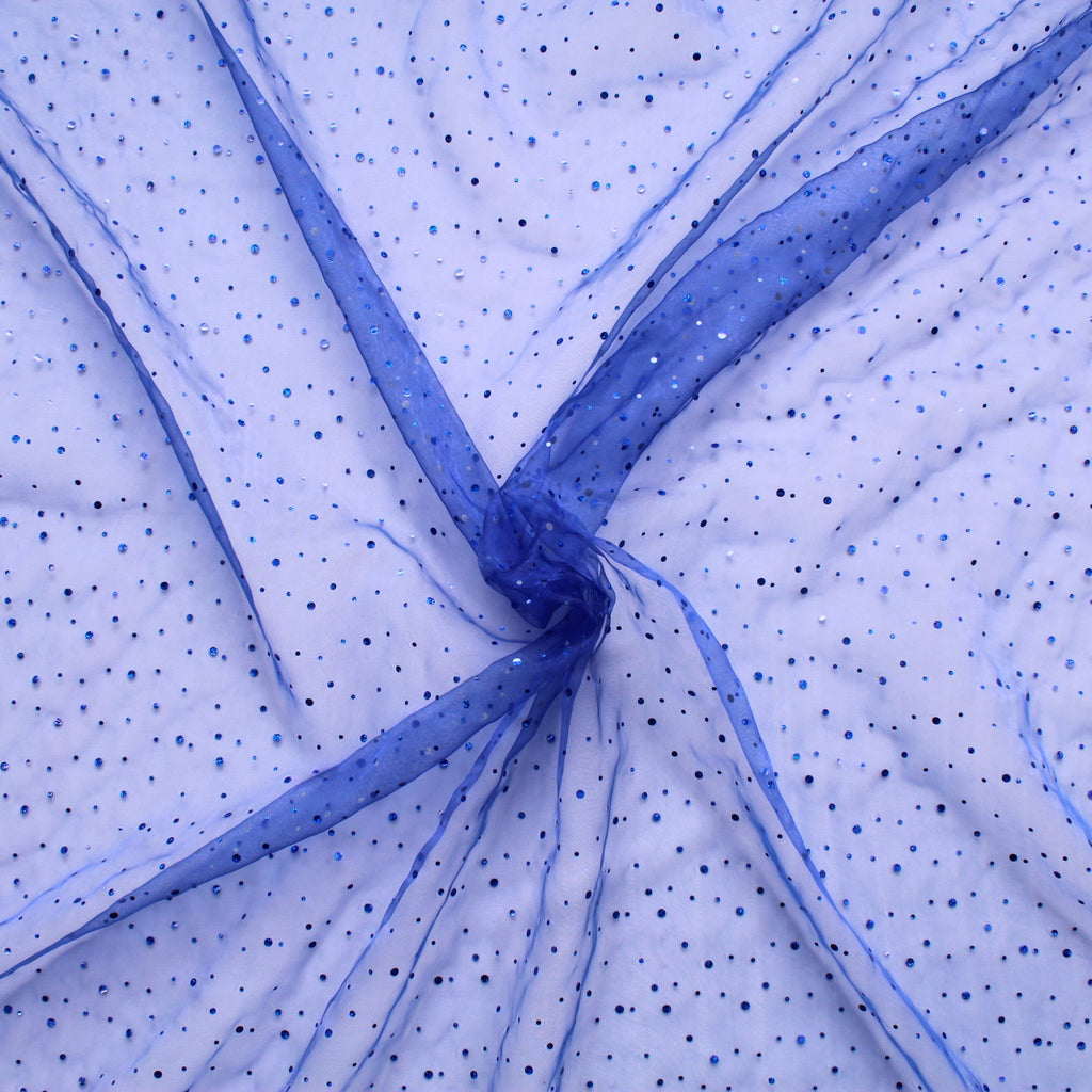 "Spot Organza Fabric Royal 100% Nylon , 60"" Wide"
