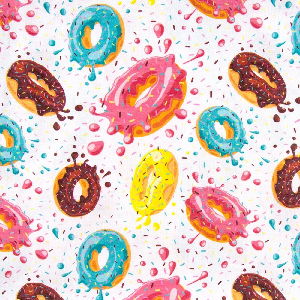 "100% Quilting Cotton 'Flying Donuts' - 60"" Wide"