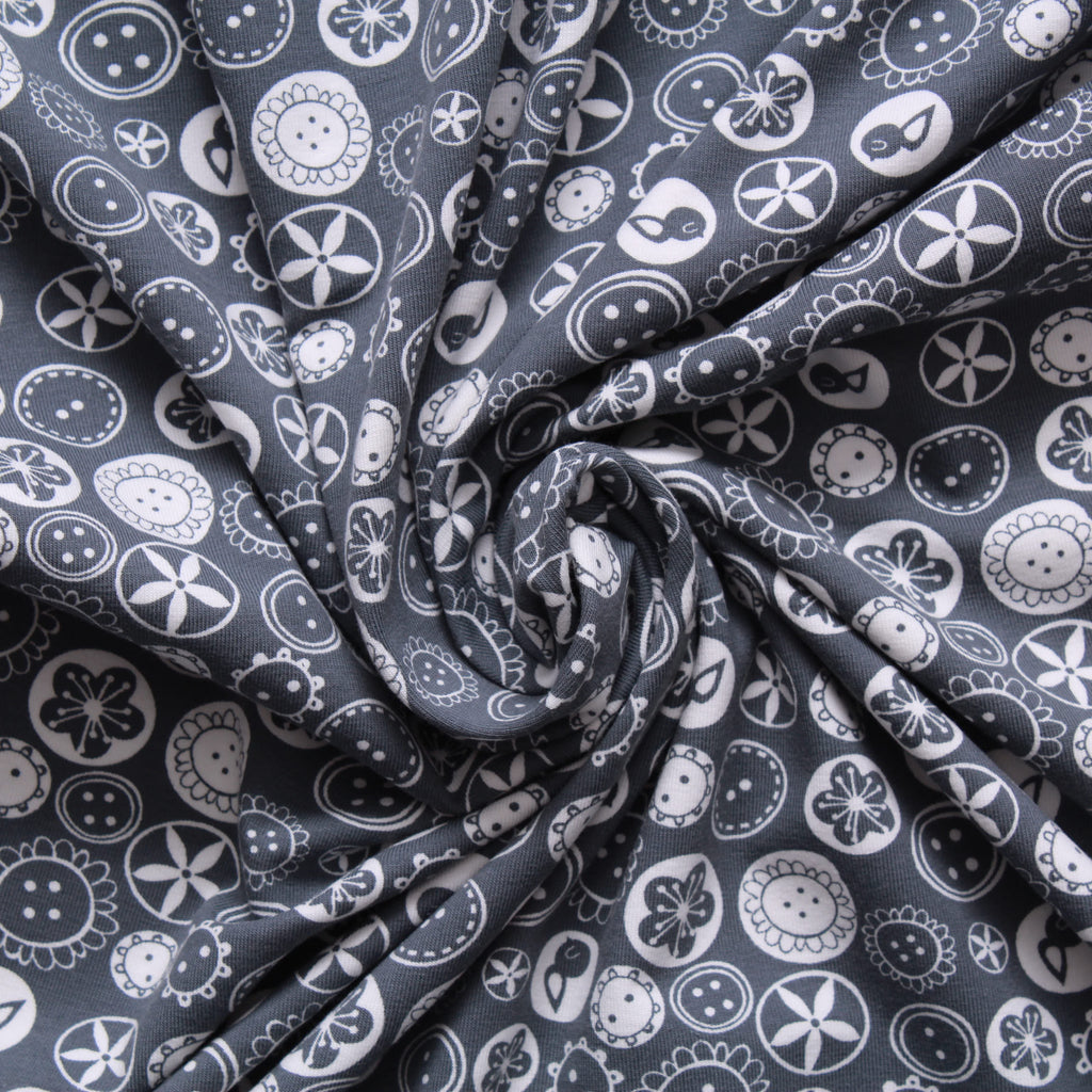 Buttons & Bobbins Printed Cotton Jersey - Grey