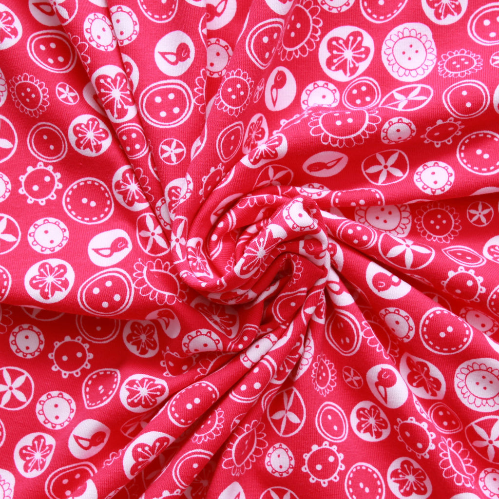 Buttons & Bobbins Printed Cotton Jersey - Hot Pink