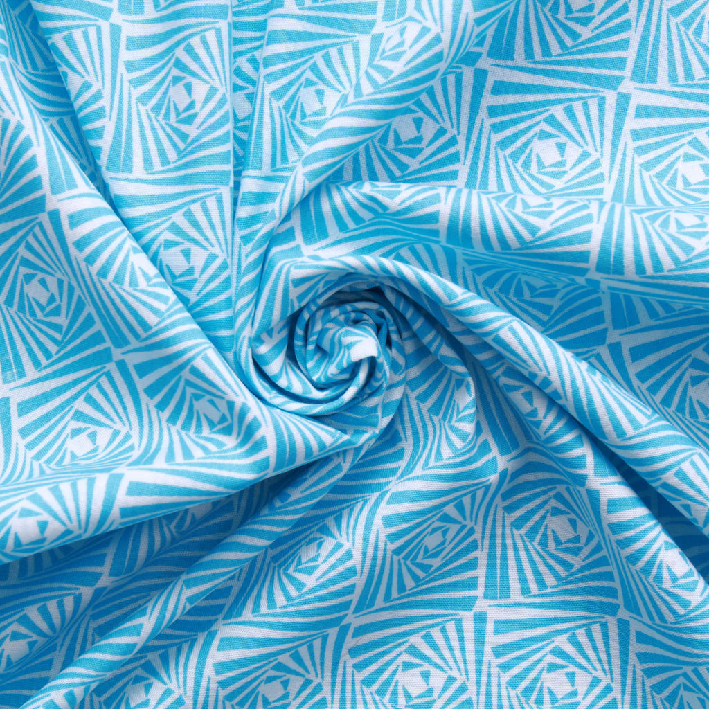 Kaleidoscope Blocks Cotton Printed Poplin - Blue