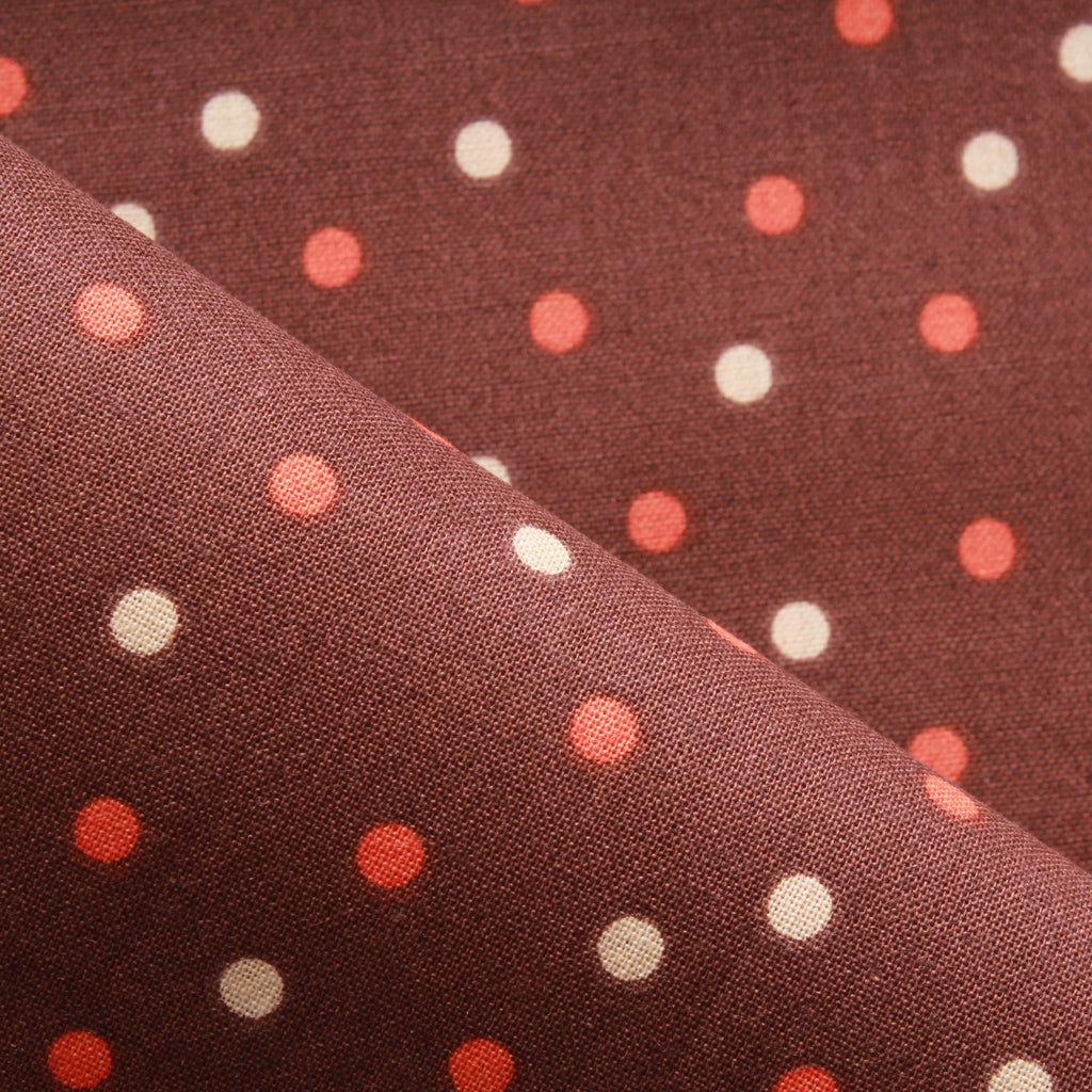 Polka Dot, Premium Printed Quilting Quality Cotton Brown