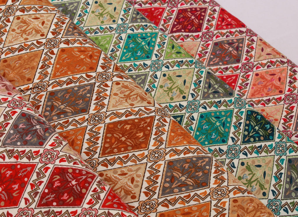 100% Rayon Fabric, Ethnic Geometric, Floral Leaves