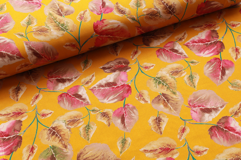 100% Rayon Fabric, Floral Leaves - Yellow