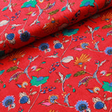 100% Rayon Fabric, Floral Leaves Print
