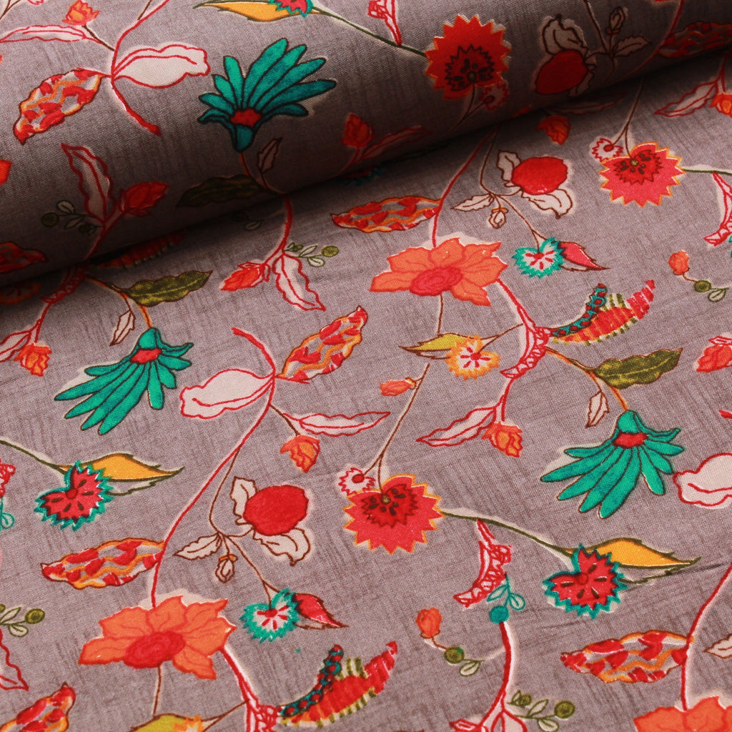 100% Rayon Fabric, Floral Leaves Print - Grey