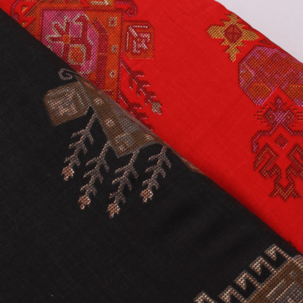100% Rayon Fabric, Ethnic Block Print