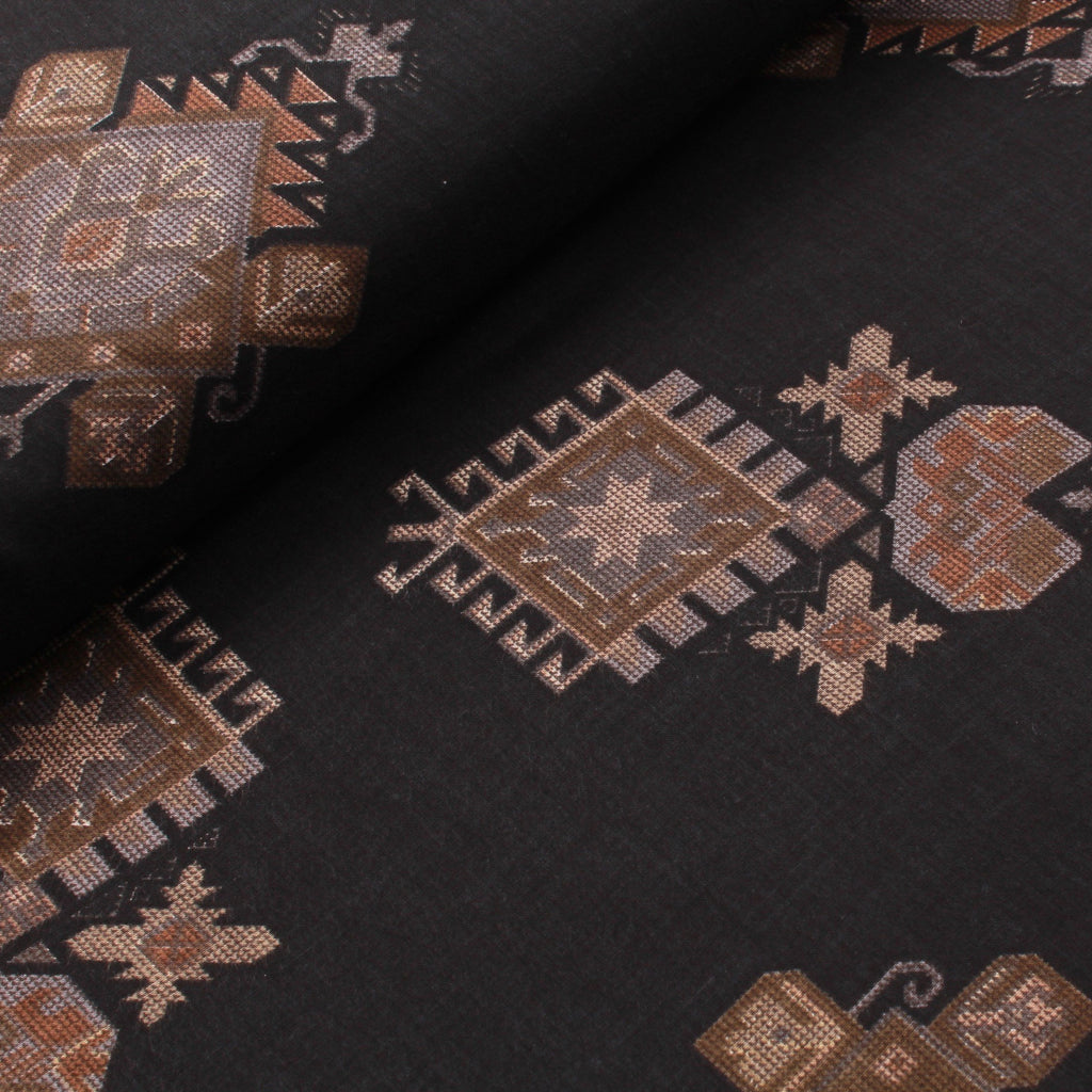100% Rayon Fabric, Ethnic Block Print - Black