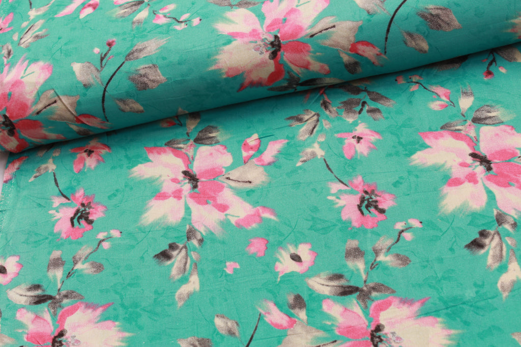 100% Rayon Fabric, Pink Floral on Aqua