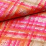 100% Rayon Fabric, Paint-stroke Effect - Pink
