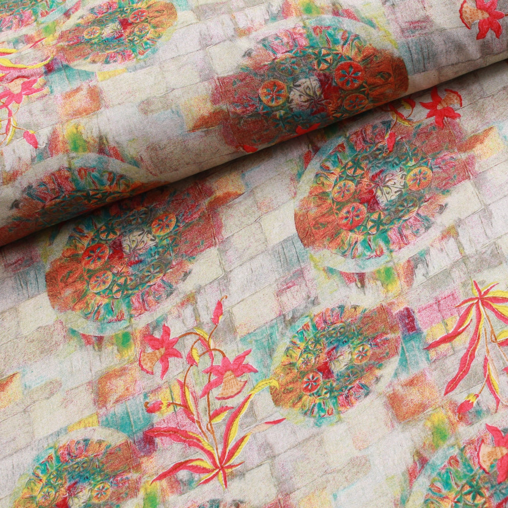 100% Rayon Fabric, Multicoloured