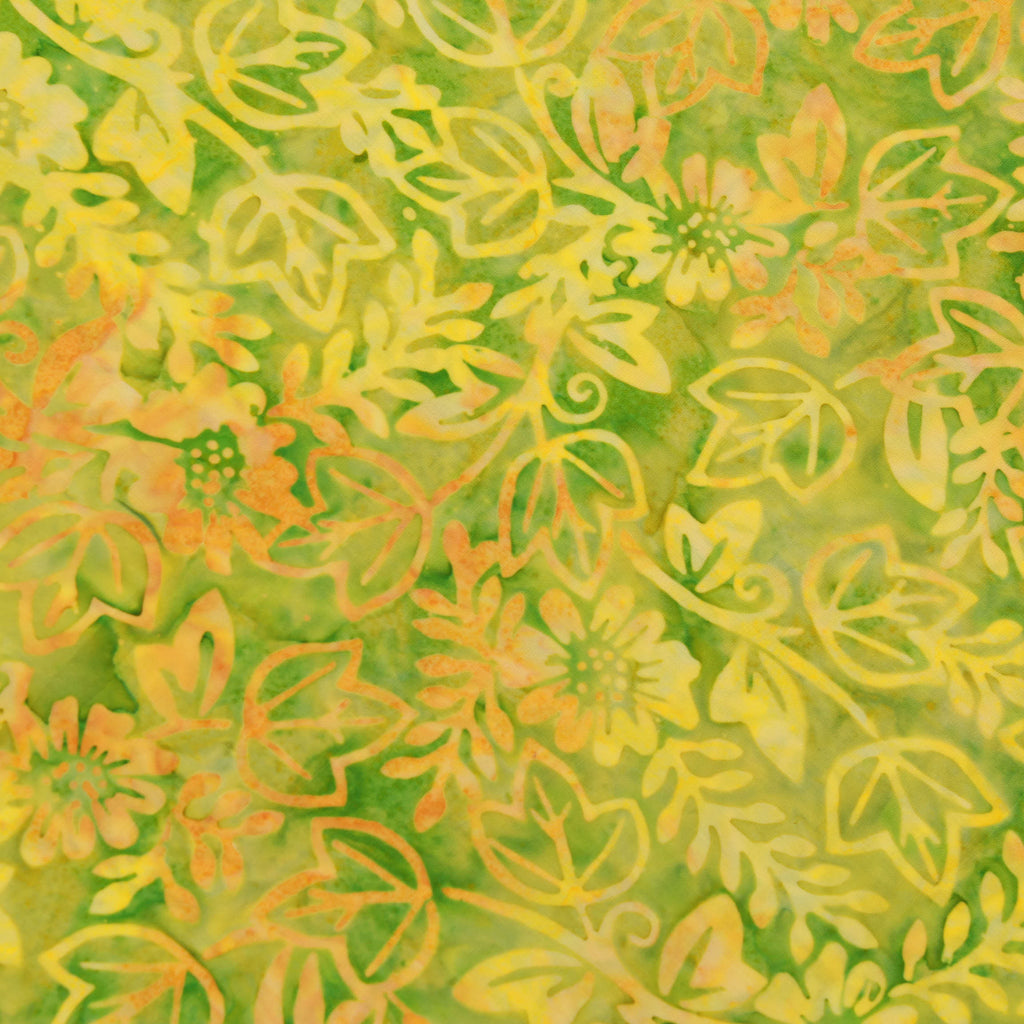 "Batik Fabric, Leaves & Flowers, BK153, 44"" Wide"