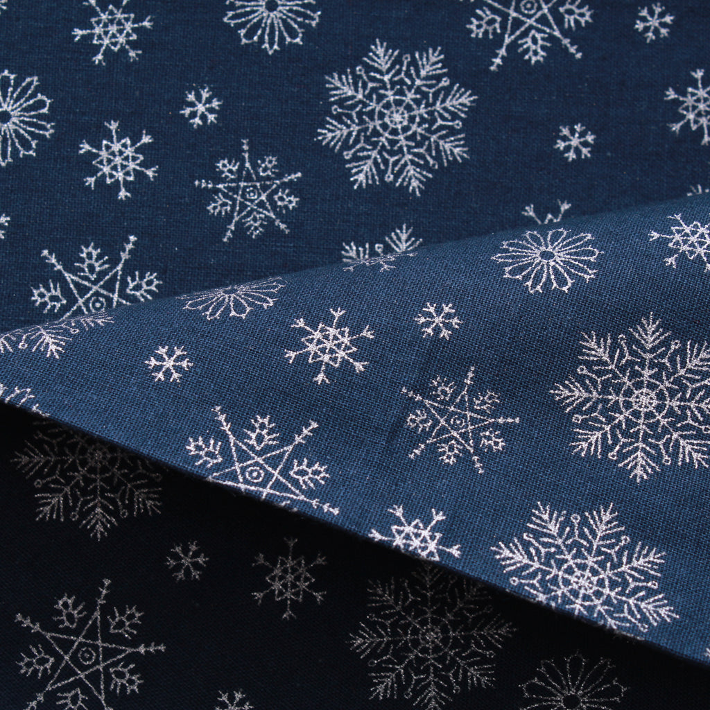 "Snowflake Silver Metallic Christmas Foil 100% Quilting Cotton, Approx 44"" Wide (112cm)"