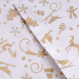 "Festive Silhouette Gold Metallic Christmas Foil 100% Quilting Cotton, Approx 44"" Wide (112cm)"