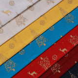Reindeer's First Christmas Gold Metallic Christmas Foil 100% Quilting Cotton, Approx 44