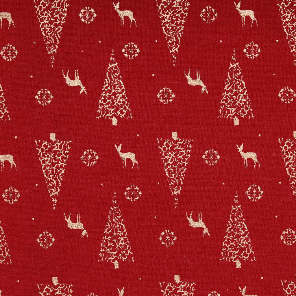 "Reindeer's First Christmas Gold Metallic Christmas Foil 100% Quilting Cotton, Approx 44"" Wide (112cm)"