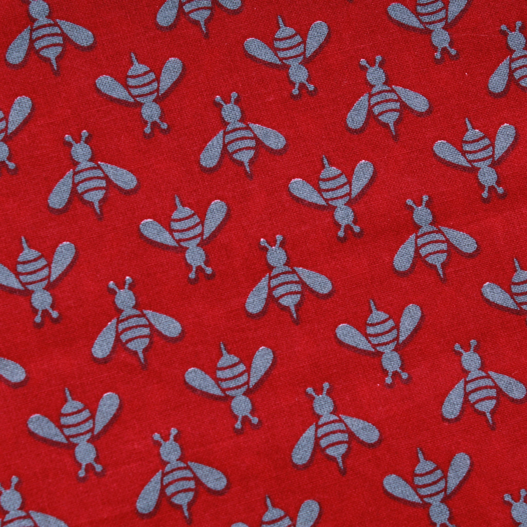 Wasps & Bees, Red, Premium Printed Quilting Quality Cotton