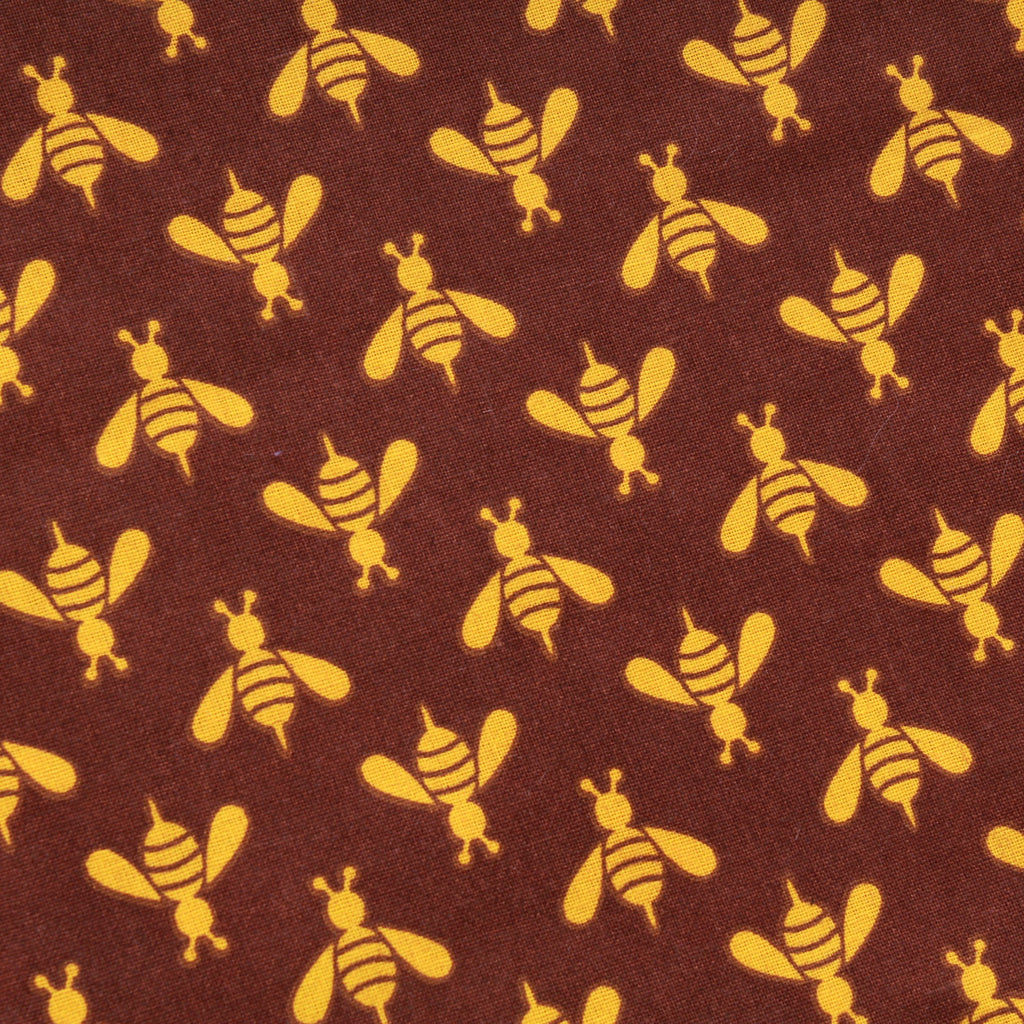 Wasps & Bees, Brown, Premium Printed Quilting Quality Cotton