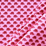 Elephant Madness Pink & Maroon, Premium Printed Quilting Quality Cotton