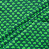 Elephant Madness Green, Premium Printed Quilting Quality Cotton