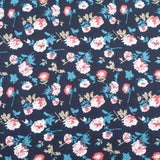 "Polyester Peachskin 'Navy Floral' 60"" wide"