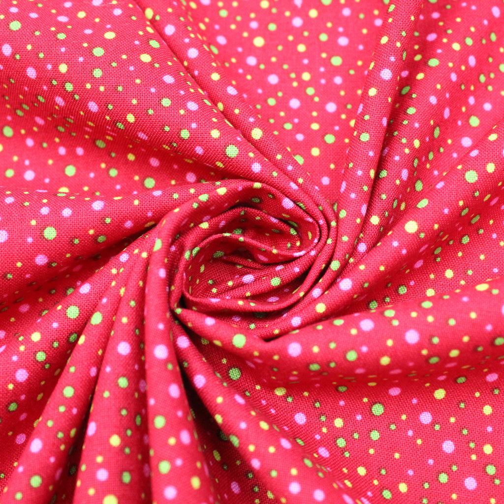 "100% Quilting Cotton 'Dots on Red' 44"" Wide"