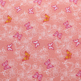 "Polycotton Fabric - 'Pink Butterflies' - 44"" Wide"