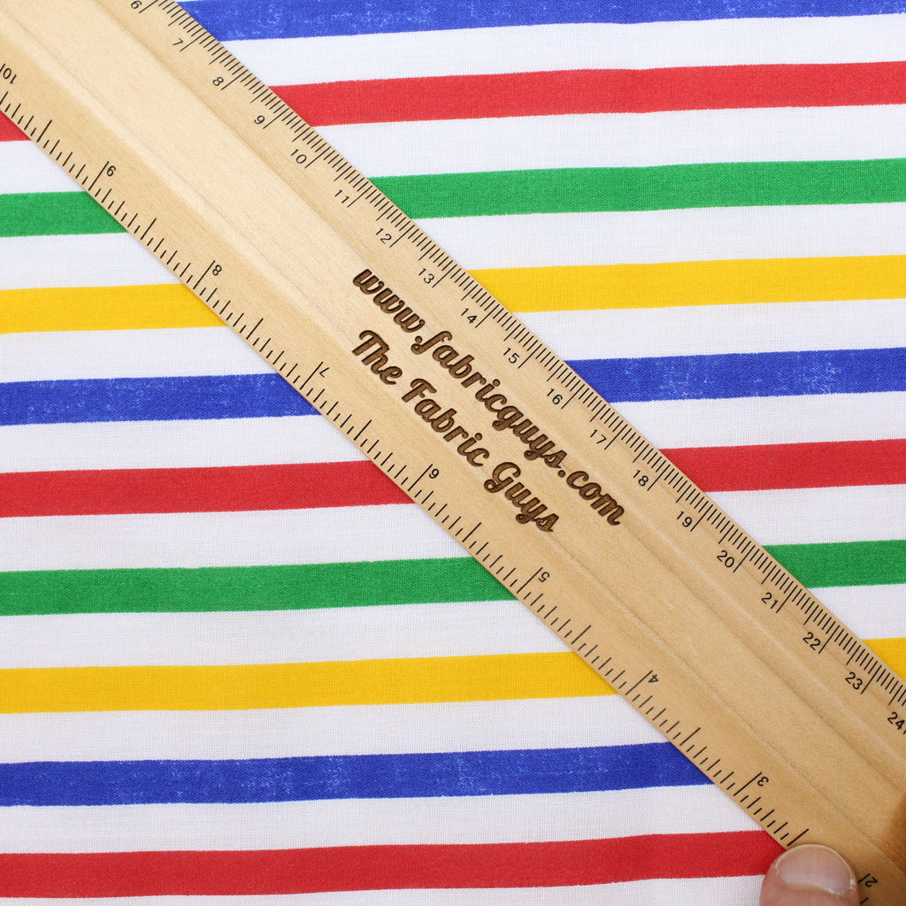 "Polycotton Fabric - 'Barber Stripes' - 44"" Wide"