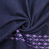 Purple Embroidery Denim - Blue