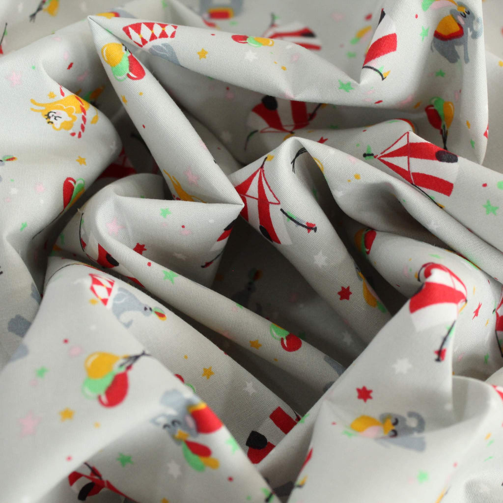 "100% Premium Quality Cotton Poplin - Circus Fun 44"" Wide"