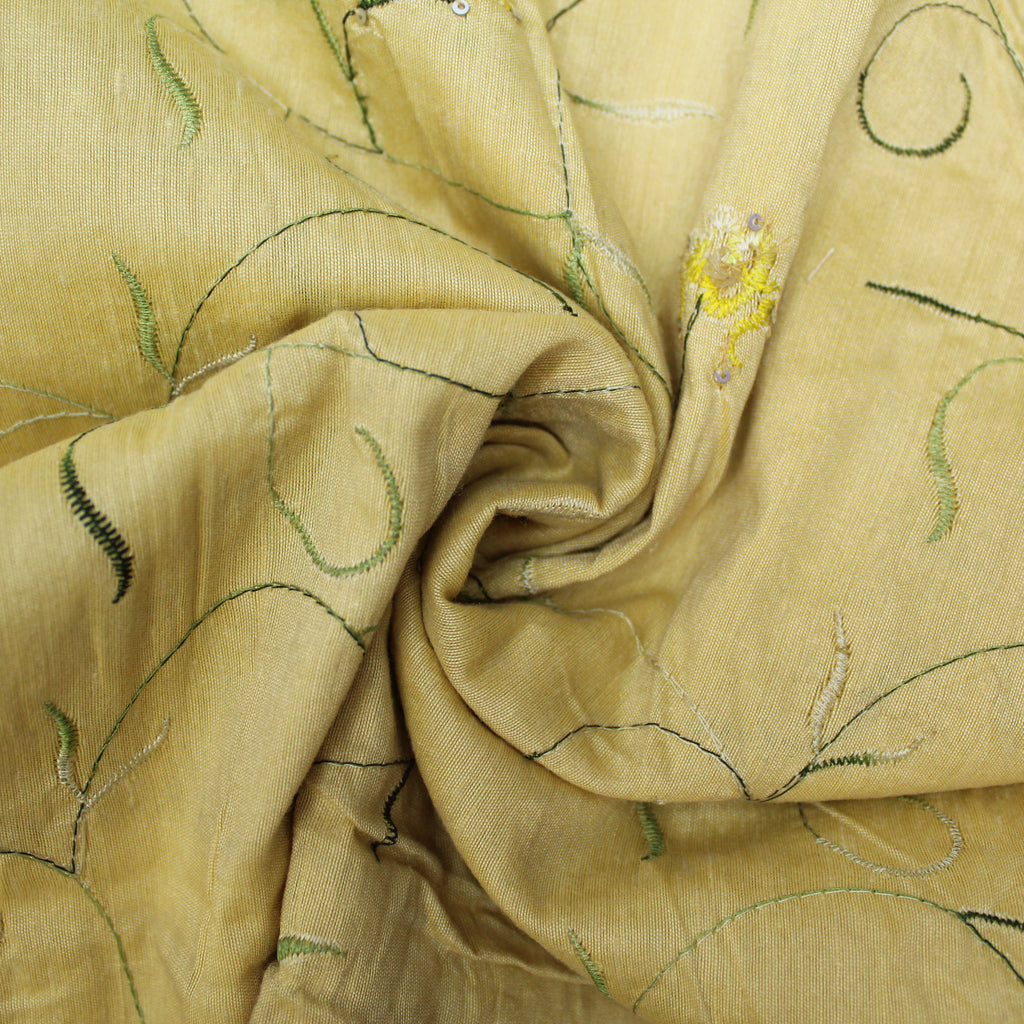 "Poly Dupion Silk Feel - 'Yellow Vines and Flowers' 44"" Wide"
