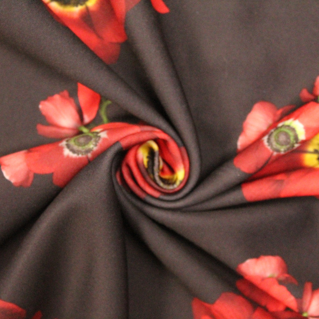"Black Scuba with Coloured Deep Floral 60"" Wide"