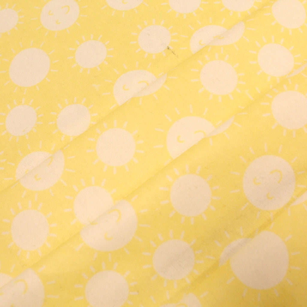 "Sunshine Face Polka Dots on Yellow - Brushed Cotton - 60"" Wide"