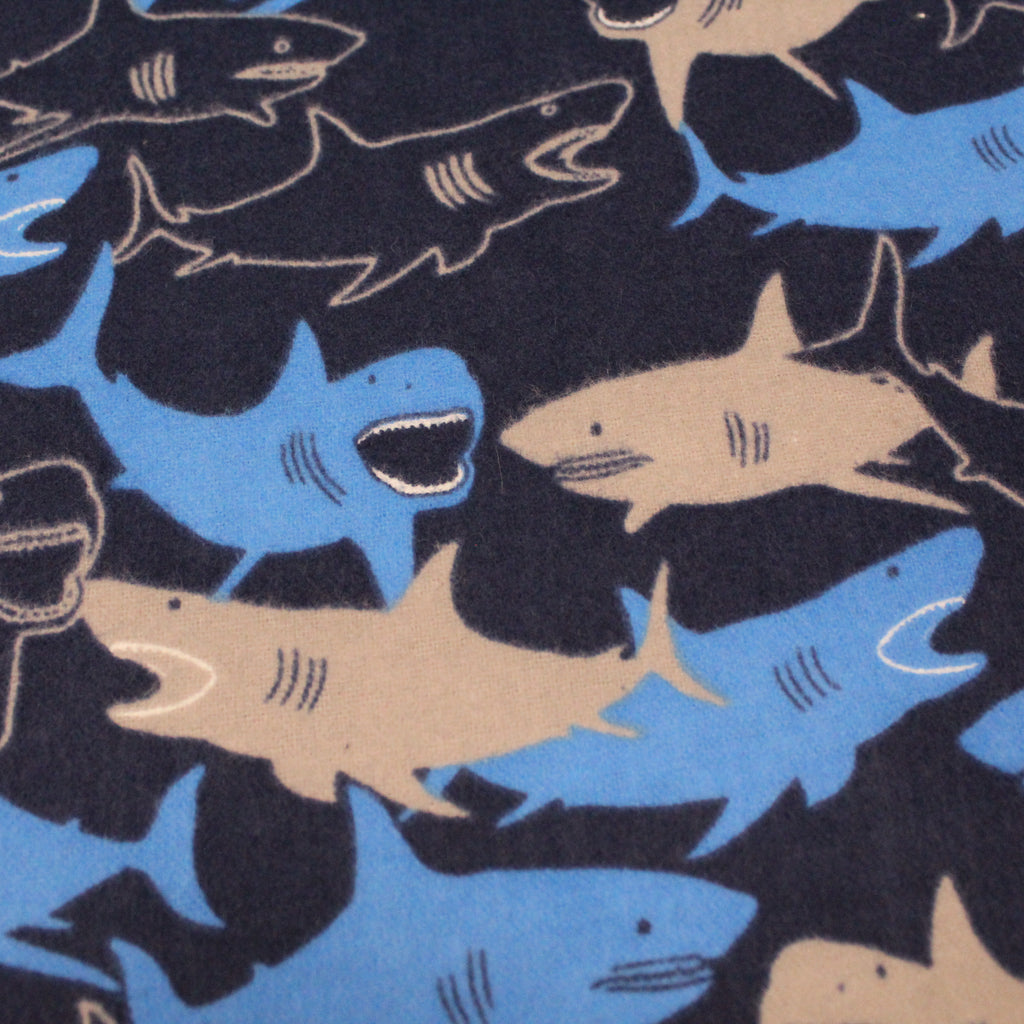 "Shark Attack - Brushed Cotton - 60"" Wide"