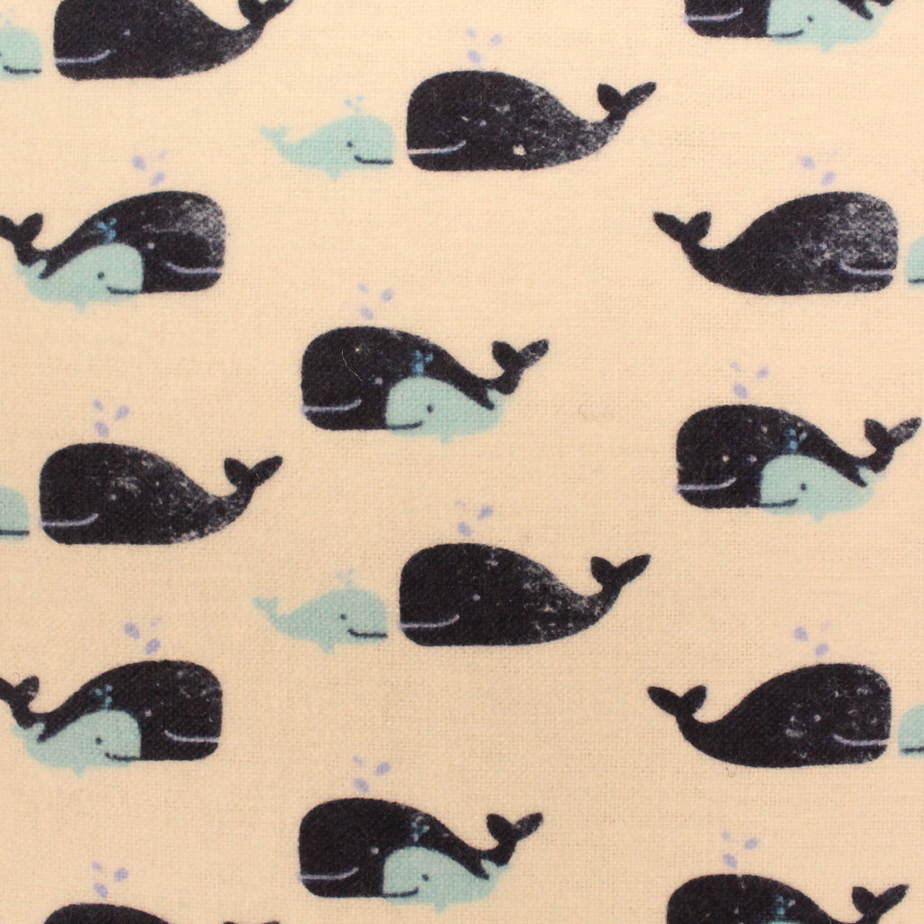 "Small Whales - Brushed Cotton - 60"" Wide"