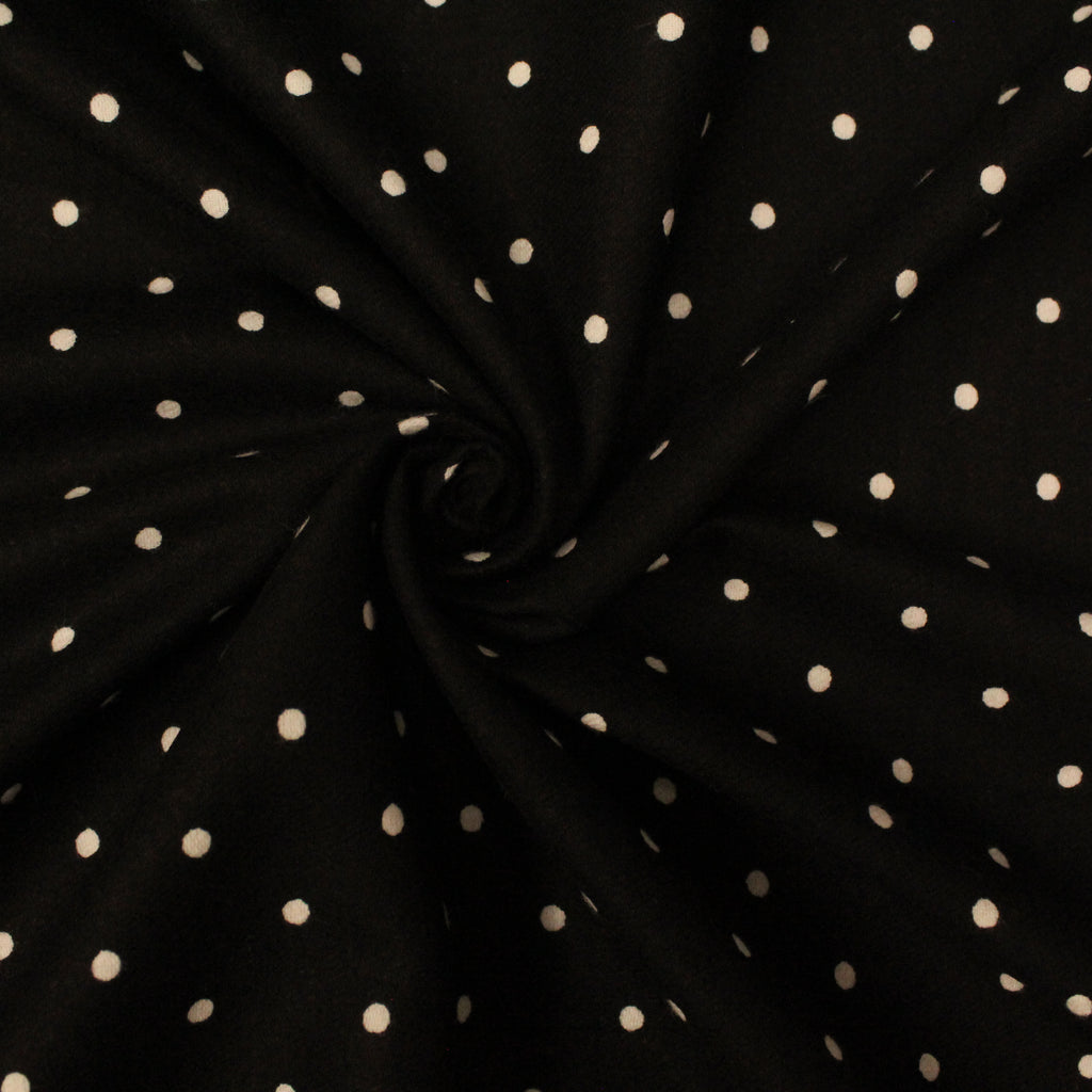 "Black With White Polka Dots  - Brushed Cotton - 44"" Wide"