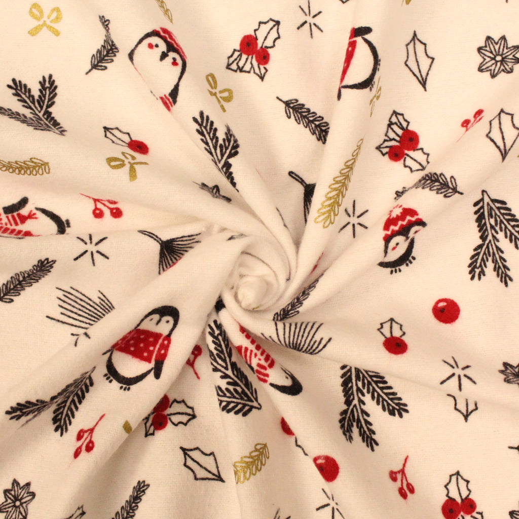 "Christmas Penguins - Brushed Cotton - 44"" Wide"