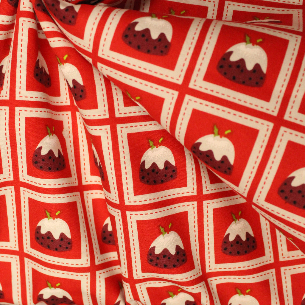 "100% Cotton Poplin - Xmas Puddings - 44"" Wide"