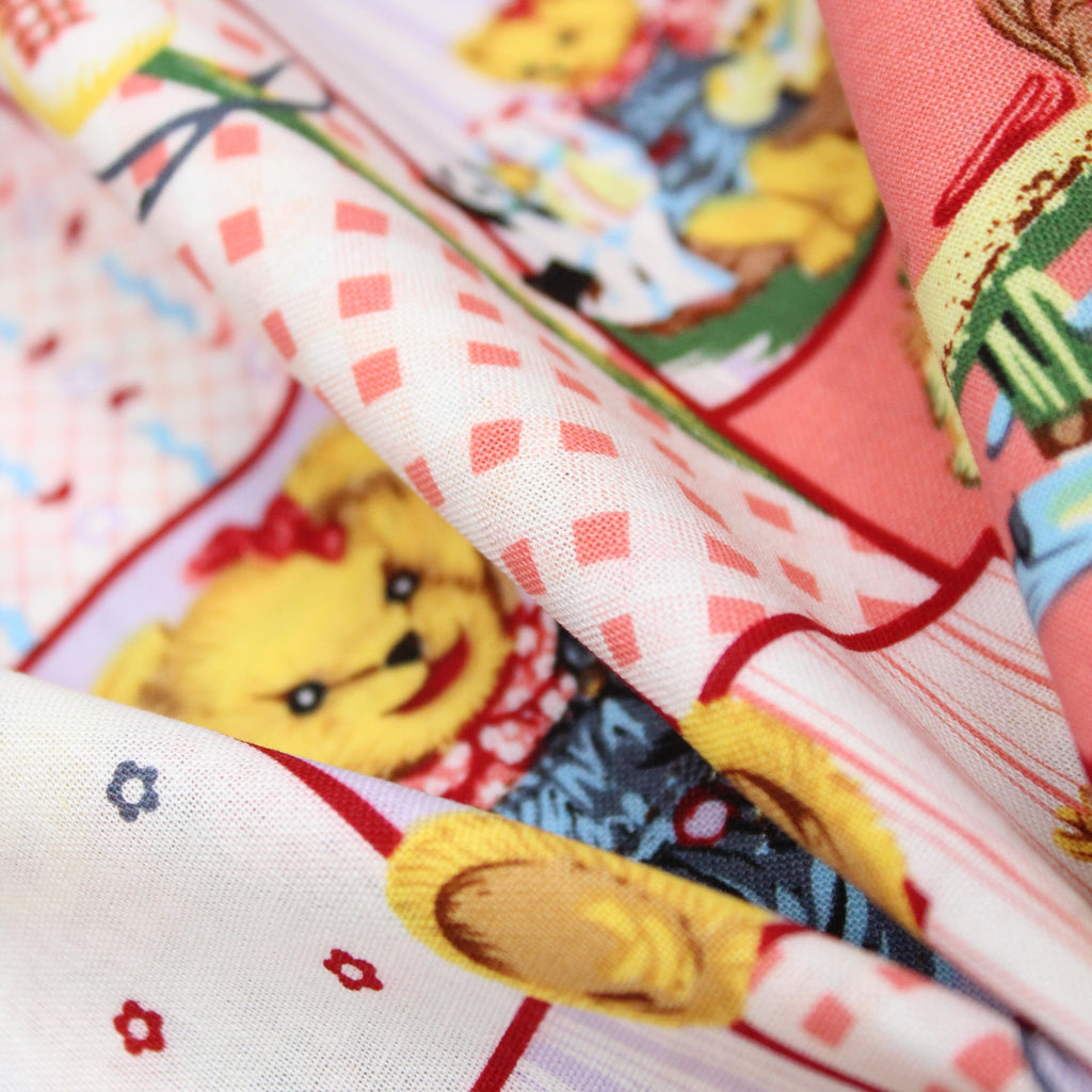 "Premium Printed Polycotton, Teddy Bear Blocks 60"" wide"