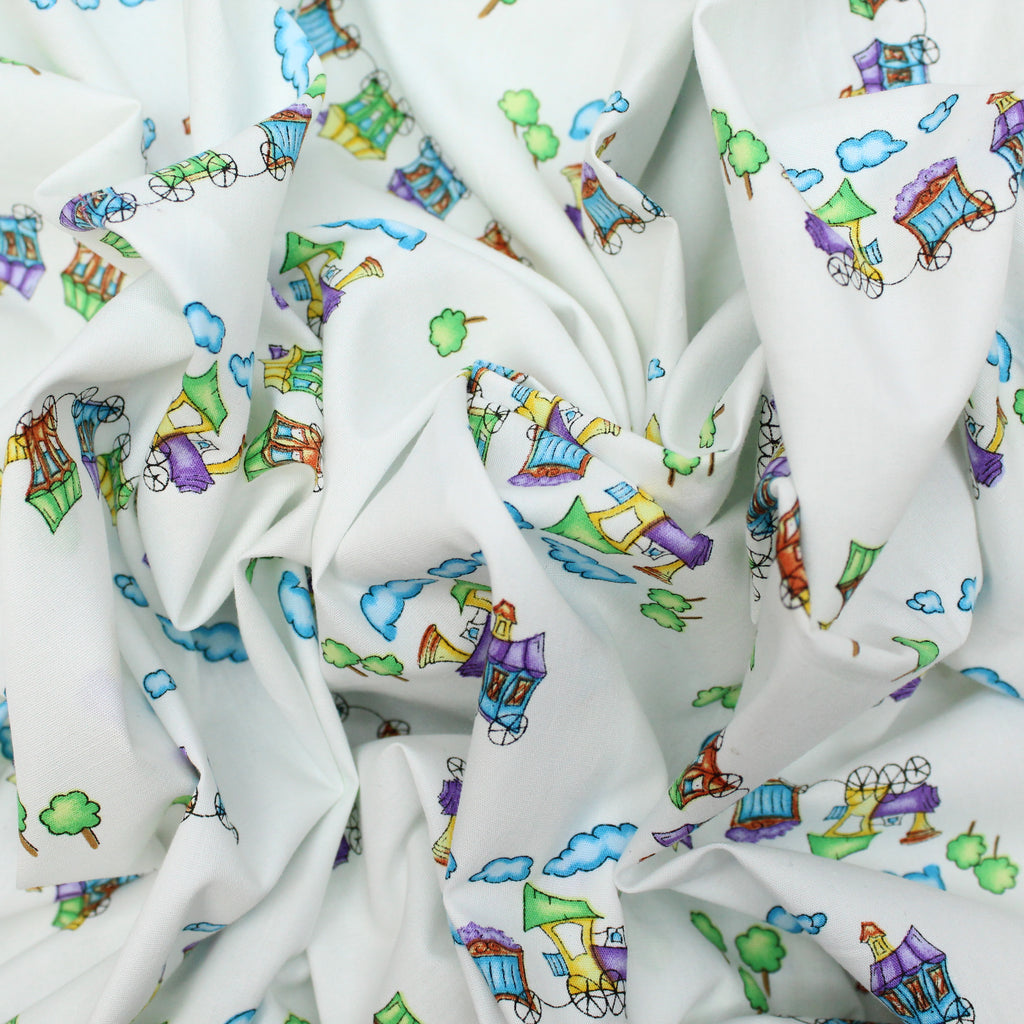 "Soft Polycotton Fabric - 'Train' - 44"" Wide"