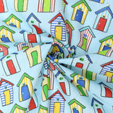 "Soft Polycotton Fabric - 'Houses' - 44"" Wide"