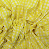 "Soft Polycotton Fabric - 'Yellow Check' - 44"" Wide"