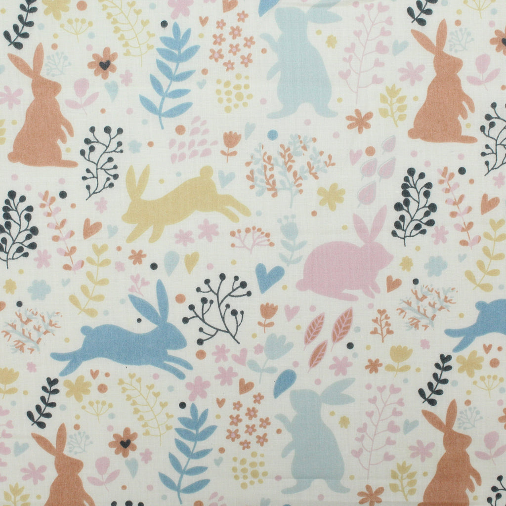 "Soft Polycotton Fabric - 'Bunny- 44"" Wide"