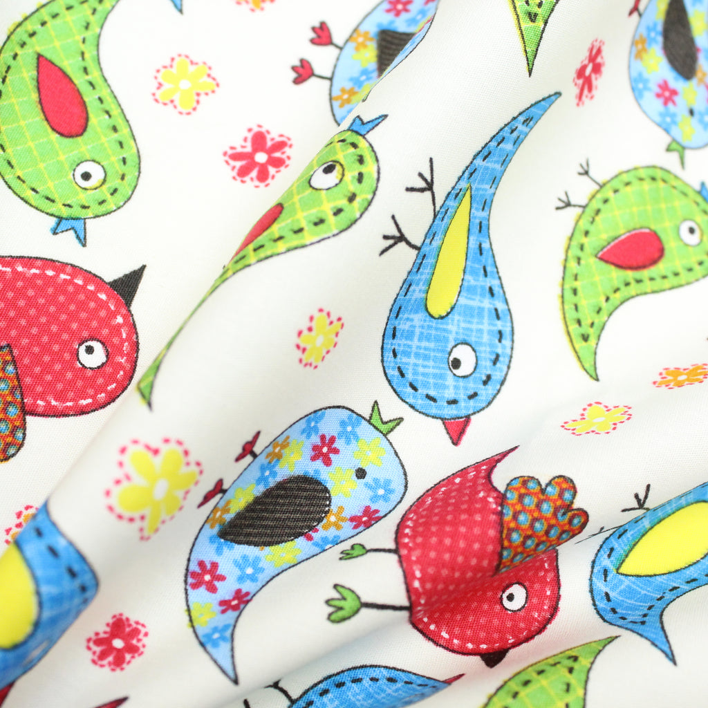 "Soft Polycotton Fabric - 'Tweet Birds'- 44"" Wide"