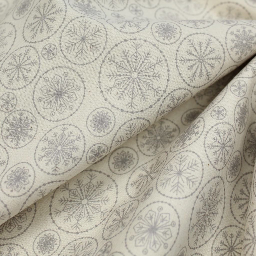 "100% Cotton 'Snowflakes Circles' 44"" Wide"
